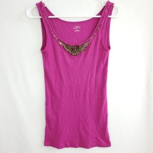 🌲 Loft Embellished Front Purple Cotton Tank Top